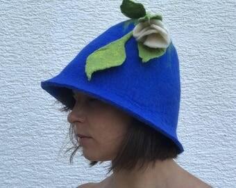 Women sauna hat with flower felted, handmade blue