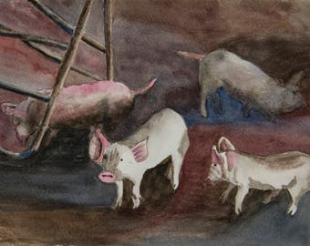 """Doreen's Piglets - Original Watercolor on Arches Paper - image size 12 x 9"""" or framed size 16.5 x 14"""""""