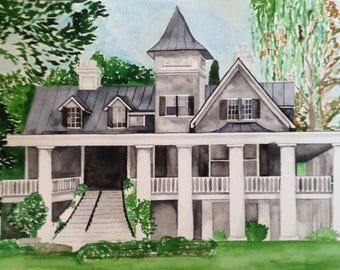 Custom Watercolor House Painting