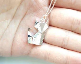 Cute Origami Fox Charm Chain Silver Necklace, Layer, Dainty, Pretty, Simple, Minimalist, Animal, Kawaii, Geometric Necklace, Fox Necklace