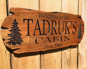 Outdoor Sign, Rot Resistant, Wooden Carved Cabin Sign, Pine Trees, Camp Sign, Weekend Camping, Lakehouse Sign, Cottage Sign, Father's Day