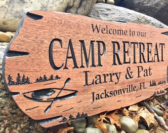 Custom Outdoor Signs, LakeHouse, Pine Tree, Kayak, Wooden Carved Signs, Camp Signs, Lake Signs, Custom Carved Signs, Wood Sign, Outside Sign