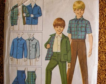 ON SALE 35% OFF 1960's Boy's Jacket Shirt and Pants Simplicity Sewing Pattern 7840 Size 6 Chest 24