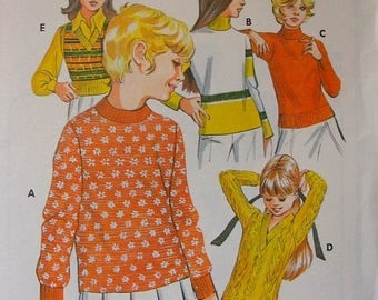 ON SALE 35% OFF Vintage Girls' Knit Pullover and Vest Uncut Kwik Sew sewing pattern 508 Size 8 10 12 14