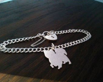 Papillon Charm on Z Curb solid sterling silver bracelet