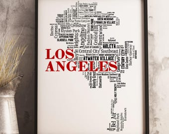 Los Angeles Map Art, Los Angeles Art Print, Los Angeles Neighborhood Map, Los Angeles Typography Art, Los Angeles Decor, Los Angeles Gift