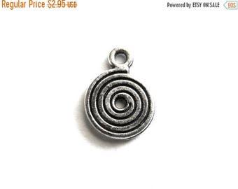 HALF PRICE 10 Silver Spiral Charms