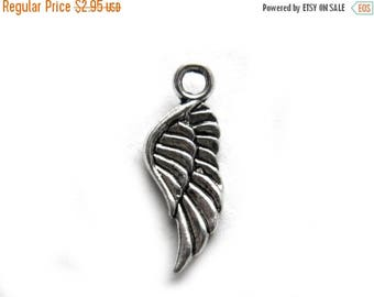 HALF PRICE 6 Silver Wing Charms  - 20mm