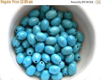 HALF PRICE 20 Magnesite Turquoise Oval Egg Beads - 8x6mm