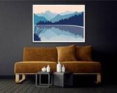 Lake Matheson New Zealand with Aoraki Mount Cook Modern Art Print, Mountain Landscape Poster Wall Art