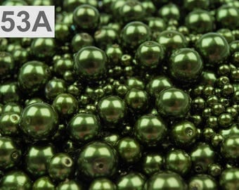 A 53-100 g of 4-12 mm glass pearl beads different sizes