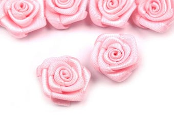 5 small 30 mm satin pink rose