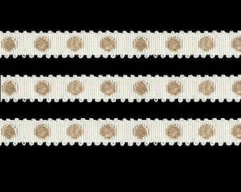 Stripe rayon beige ivory polka dot 23 mm