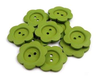 4 flower 3 cm green wood buttons