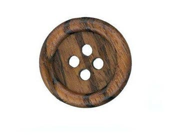 5 34 mm dark brown wooden buttons