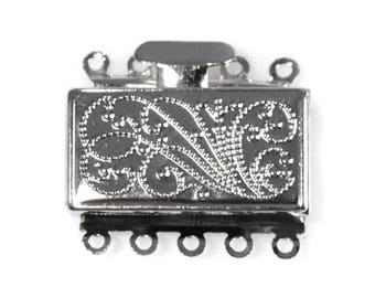 MULTISTRAND decorated engraved silver metal clasp