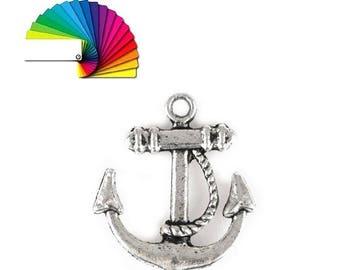 4 pendant anchor charms silver or bronze