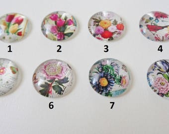 16mm Assorted Floral Glass Cabochons