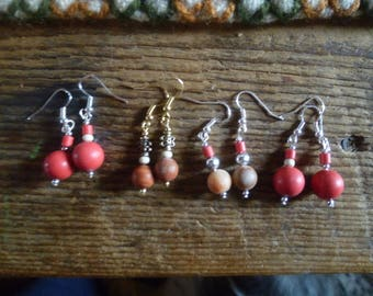 salmon and tan earrings...five buck pairs