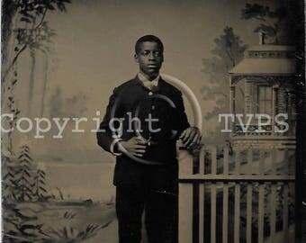 Antique Tintype Photograph Young Man Studio Photo