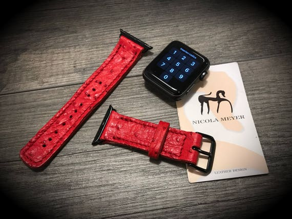 OSTRICH Apple Watch Wrist Band 42 & 38 mm made by Genuine OSTRICH handcrafted in Italy watch strap for rev 3 2 1 choose size and color