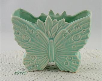 McCoy Pottery Butterfly Shaped Vase Matte Aqua Vintage McCoy Butterfly Shaped Vase  (Inventory #3915)