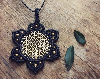 Flower of life necklace Sacred geometry macrame necklace Meditation Necklace, mandala necklace, boho chic festival jewelry,