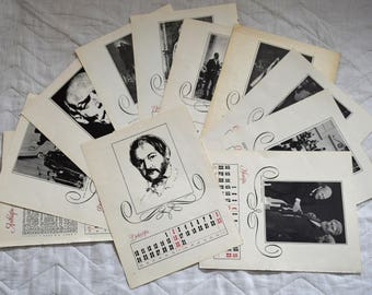Set of 12 Vintage Book Pages Illustrations Scrap Collage Paper Ephemera - Soviet Music Calendar for 1979 - for your projects B&W