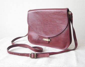 Vintage Leather Handbag Genuine Quality Leather Brown Shoulder Bag with Long Strap, 3 inner compartments @221