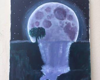 moon waterfall painting