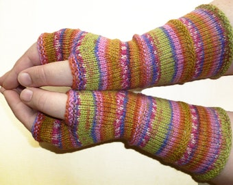 Knit Fingerless gloves   Knitted Fingerless Mittens   Long Arm Warmers   Boho Glove   Women Fingerless   Wrist Warmers