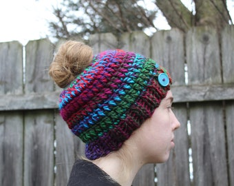 RTS Messy Bun Hat, Multicolored Ponytail Beanie, Ready to Ship, Purple Green Blue Red Handmade Crochet Messy Bun Beanie, Knit Pony tail Hat