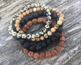 Be Playful ~ Picture Jasper, Dalmatian Jasper, Lava Stone & Rudraksha Seed Bracelet Set ~ Stacking Bracelets, Unisex Bracelets, Chakra