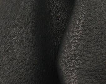 "On the Edge Black Leather New Zealand Deer Hide 12"" x 12"" Pre-cut 4-4 1/2 ounces -17 DE-66130 (Sec. 5,Shelf 3,B)"