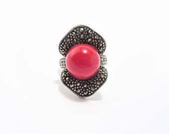Vintage Red Bead Sterling Marcasite Ring Size 7.5