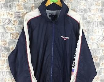 POLO SPORT Ralph Lauren Windbreaker Jacket Large Vintage 90s Polo Sport Spell Out Hoodie Jacket Blue Sportswear Ralph Lauren Windbreaker L