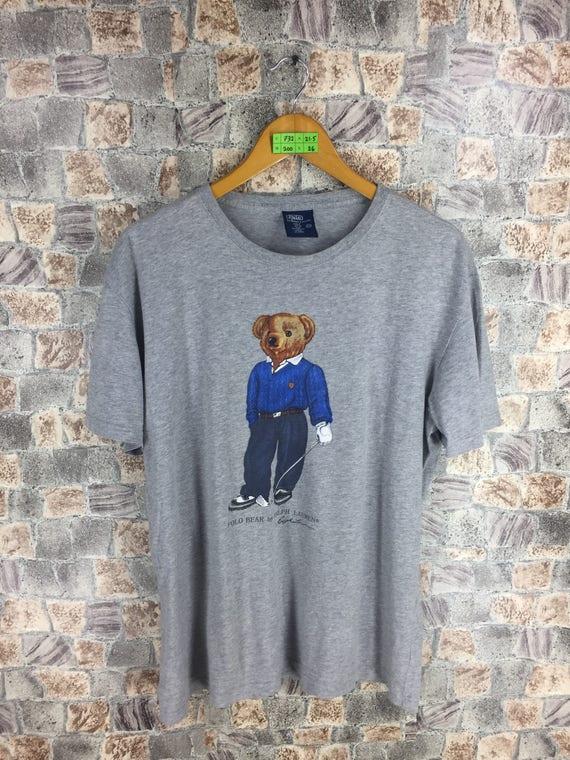 POLO BEAR T shirt Medium Polo Ralph Lauren Vintage 90s Polo Sport Usa Bear Play Golf Hip Hop Sportswear Bear Gray Tee Tshirt Size M VlPqAVZitd