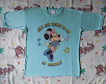 Vintage 80's Minnie Mouse All She Wants To Do Is Dance T shirt, size XL soft and thin night shirt Nightie
