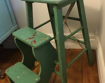 Vintage 1940u0027s Step Stool/Ladder, Great Kitchen Piece, Original Paint, Very  Handy