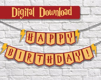 Harry Potter Birthday, Harry Potter Birthday Banner, Birthday Banner, Gryffindor, Harry Potter Party Decor, Harry Potter Party Decoration