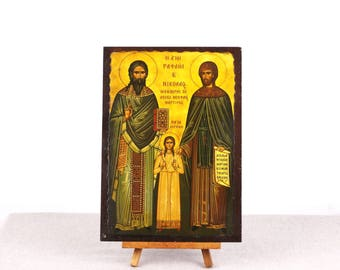 Santa Nicholas, St Raphael, St Irene, Christian Icon Print, Greek Orthodox Art, Russian Icon, Religious Decor, Catholic Icon, Catholic Print