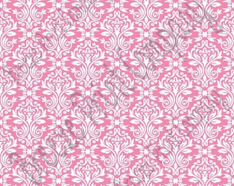 Pink and white damask floral craft  vinyl sheet - HTV or Adhesive Vinyl -  HTV4204
