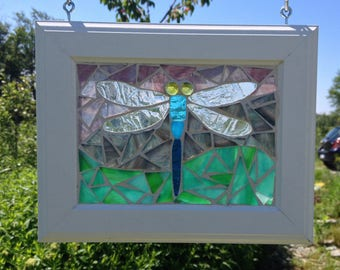 Stained Glass Dragonfly Suncatcher Dragonfly Stained Glass Mosaic Suncatcher - Damselfly Stained Glass Suncatcher - Mosaic Damselfly