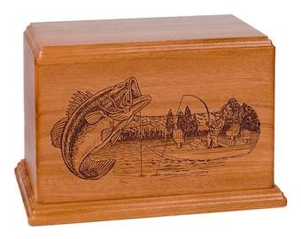 Mahogany Boat Fishing Wood Cremation Urn