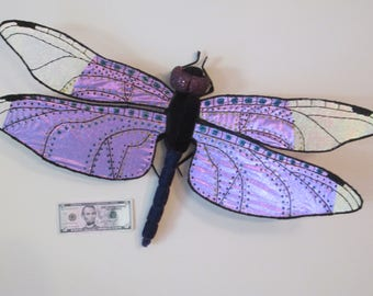 Dragonfly Art - Wall Hanging - Home Decor - Housewarming Gift - Wedding Gift - Birthday Gift - Purple Widow Skimmer