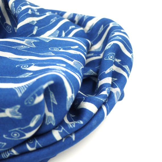 "Blue and white wool viscose scarf ""anchovies"", fishes infinity scarf"