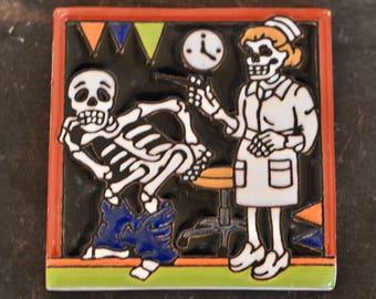 Talavera Tile- Day of the Dead / Catrina Nurse