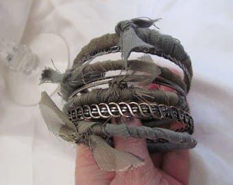 Bracelet Beautiful Stacking Bangle Textile Leather Bracelet 7 Piece Set - Green Bronze (58)