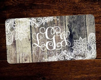 Personalized License Plate Monogram Car Tag Set Custom Initials Matching License Frame White Lace on Vintage Wood