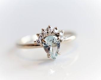 Lily - Pear Aquamarine 14k or 18k , Aquamarine Crown Ring, VS Diamond Aquamarine Ring, Unique Aquamarine Engagement Ring, March Birthstone